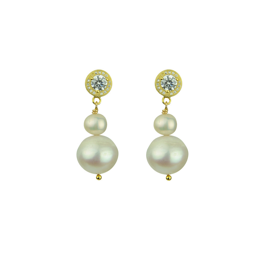 Katerina Psoma White Pearl Earrings