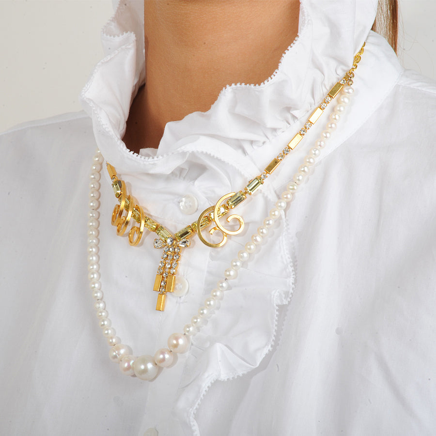 Diana White Pearls and Vintage Short Necklace
