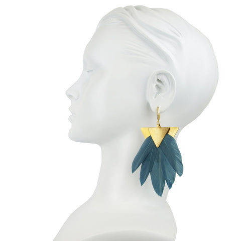 Artemis Petrol Feather Gold Plated Metal Earrings