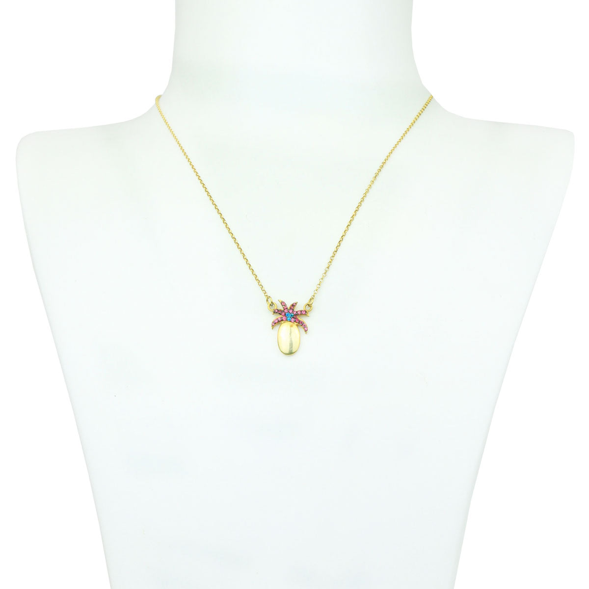 Pineapple Gold Plated 925 Sterling Silver Chain Short Necklace