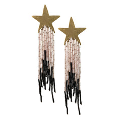 Celeste Star Earrings with Powder Pink and Black Tassel