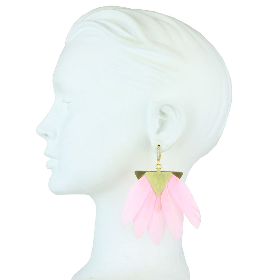 silver earring with pink feather katerina psoma