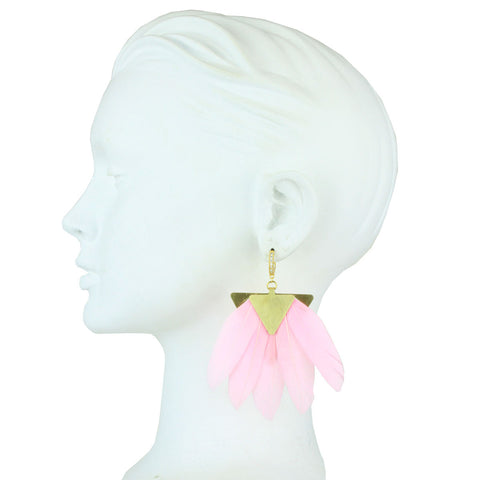 Artemis Pink Feather Gold Plated Metal Earrings