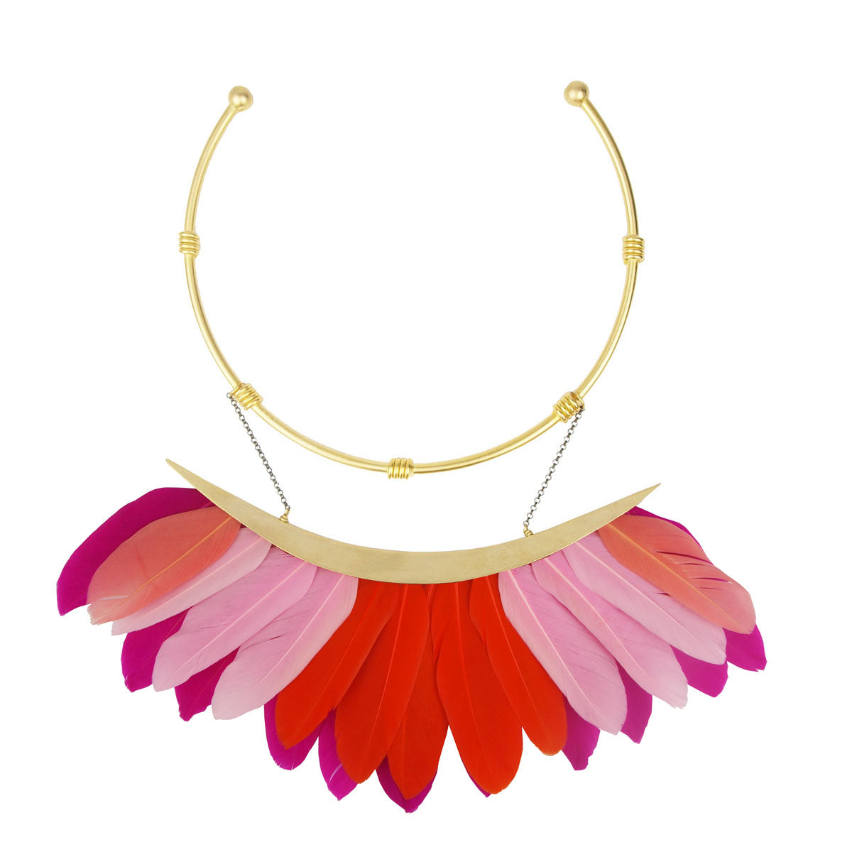 multicolor red pink feather collar necklace katerina psoma