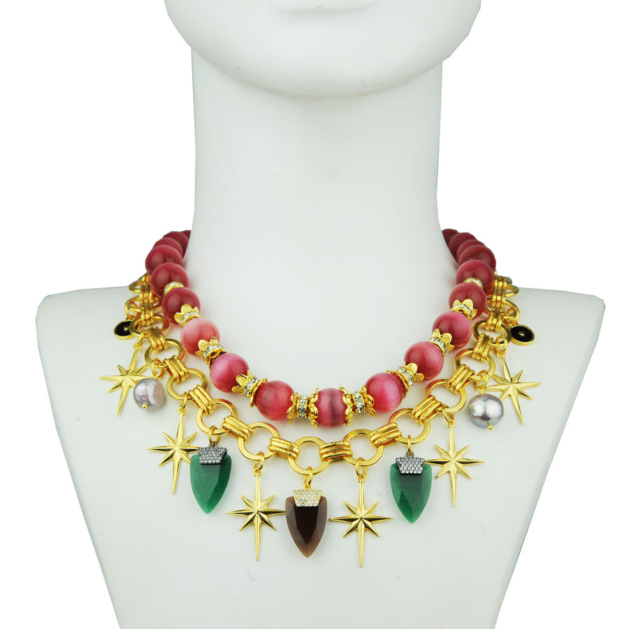 chain short necklace with various charms katerina psoma detail