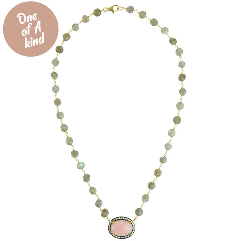 Areti Short Necklace with Pink Opal and Diamonds