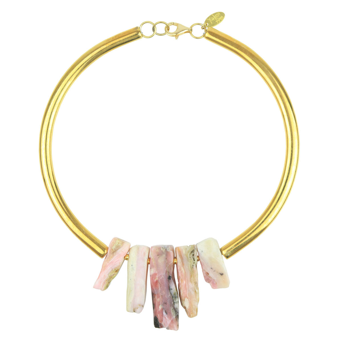 Erica Pink Opal Gold Plated Metal Collar Necklace