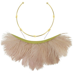 Artemis Pink Ostrich Feather Gold Plated  Metal Collar Necklace