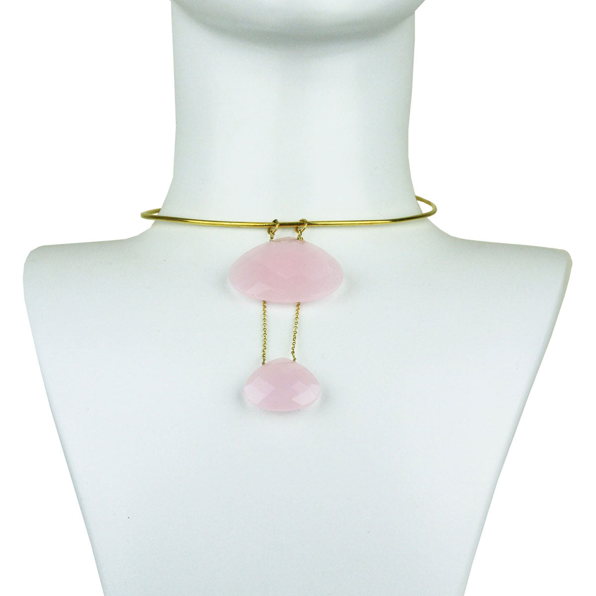 Selene Gold Plated 925 Sterling Silver Collar Necklace with Pink Quartz Drops