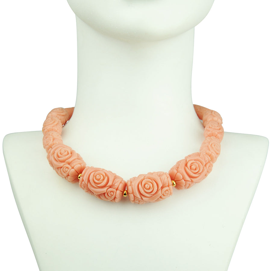 Katerina Psoma Short Necklace with Pink Resin Beads detail
