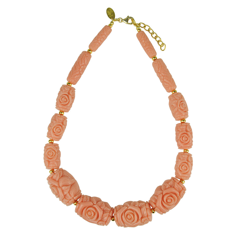 Katerina Psoma Short Necklace with Pink Resin Beads resin