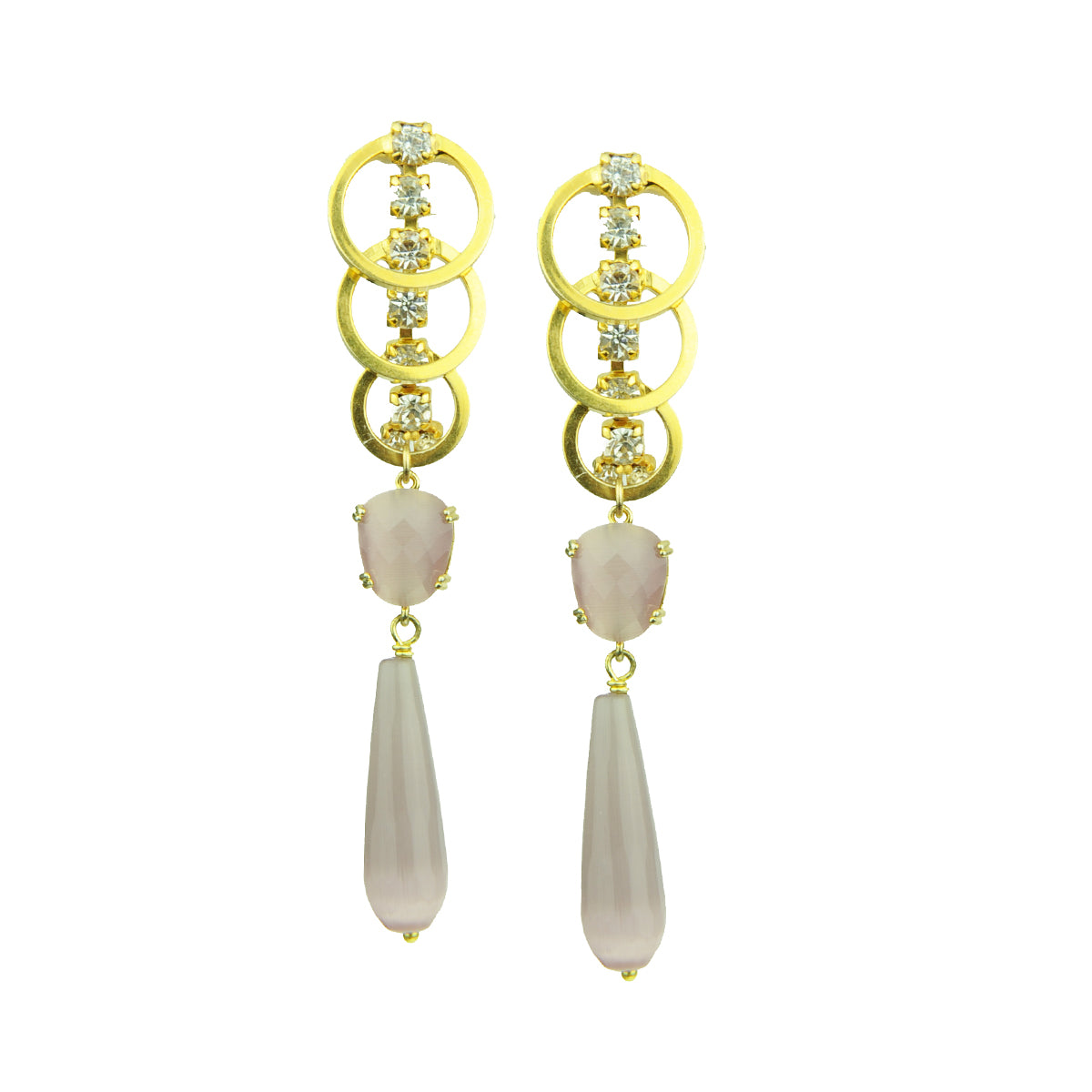 Eleanor Pink Cat's Eye Slab and Crystal Earrings