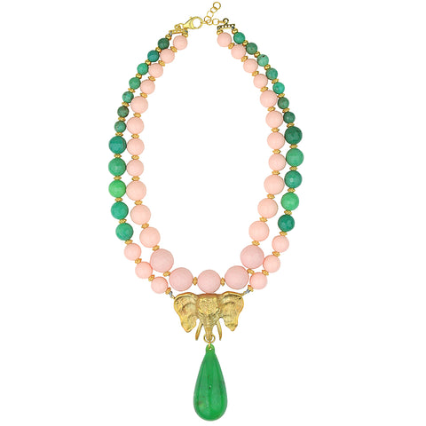 Ida Chrysoprase and Coral Paste Beads Short Necklace with Gold Plated Elephant