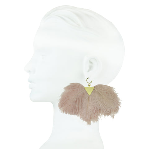 Artemis Powder Pink Ostrich Feather and Gold Plated Brass Earrings