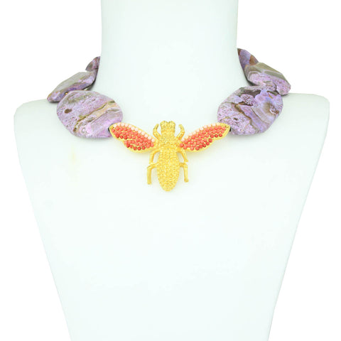 Purple Agate and Metal Dragonfly Short Necklace