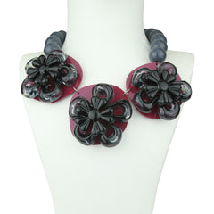 Rena Purple Acrylic Necklace with Flower and Colored Beads
