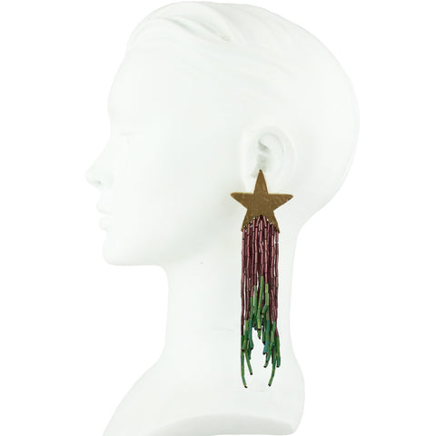 Celeste Star Earrings with Violet and Green Tassel