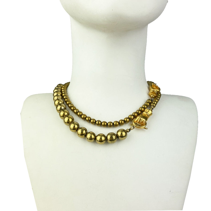 Katerina Psoma  Long Necklace with Pyrite double row short