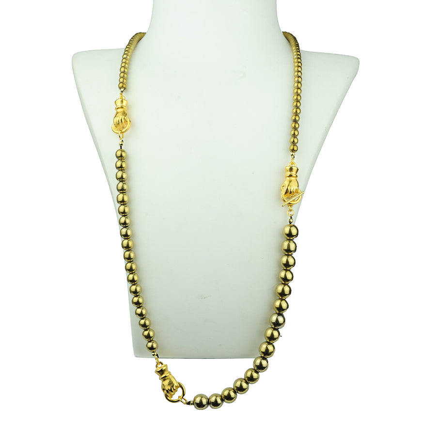 Katerina Psoma  Long Necklace with Pyrite detail