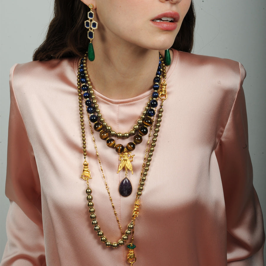 Katerina Psoma Long Necklace with Pyrite semiprecious jewelry