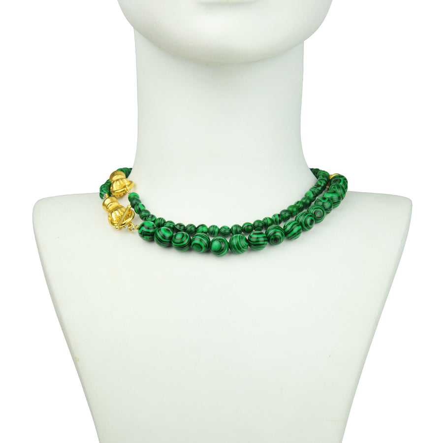 Katerina Psoma Long Necklace with Malachite costume jewlry