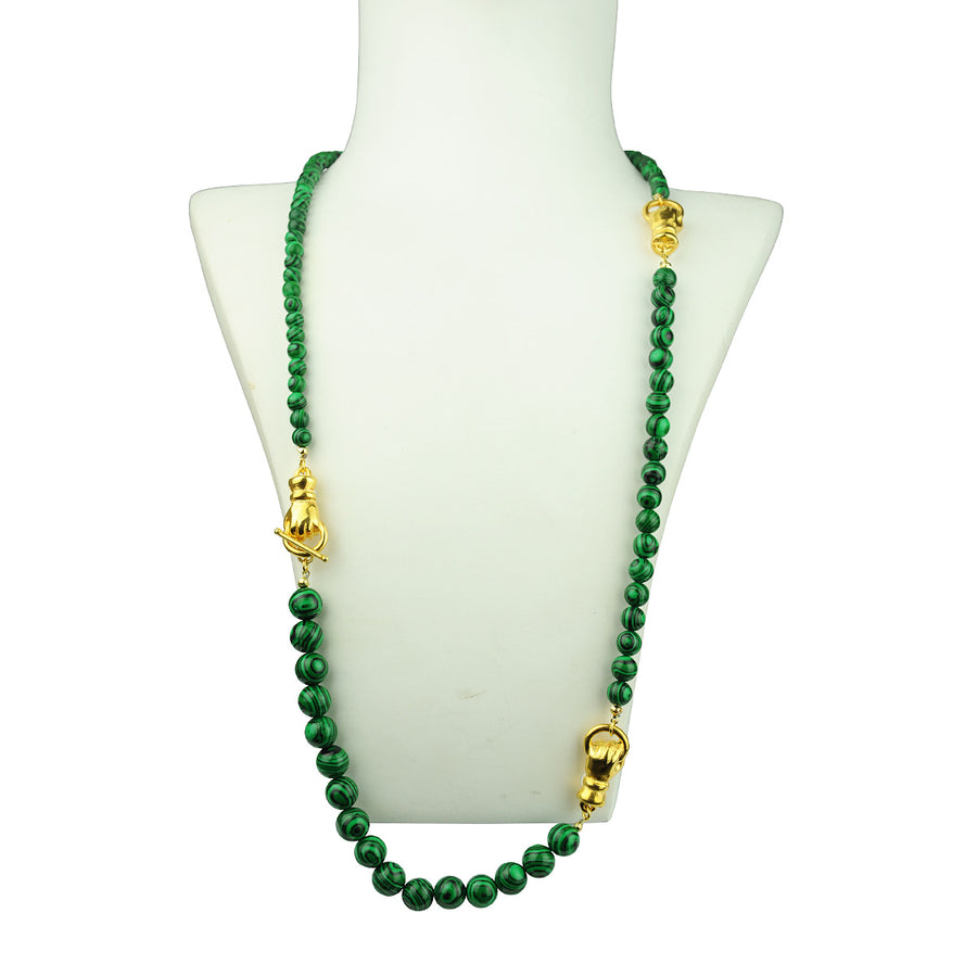 Katerina Psoma Long Necklace with Malachite green necklace