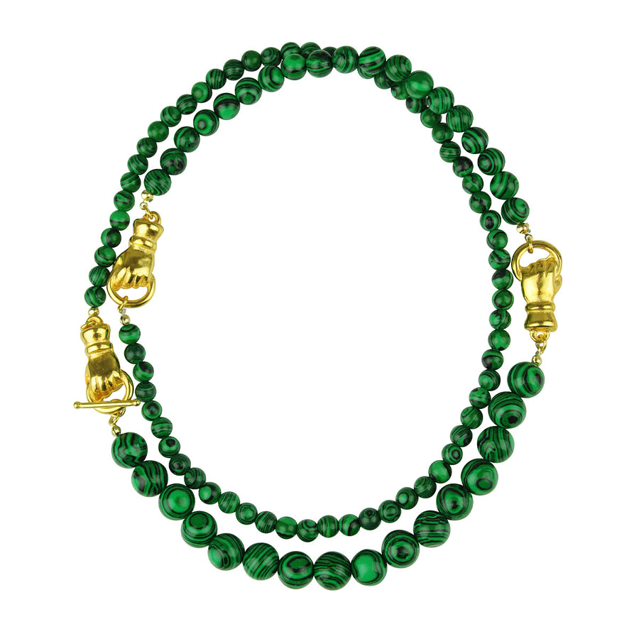 Katerina Psoma Long Necklace with Malachite semiprecious necklace