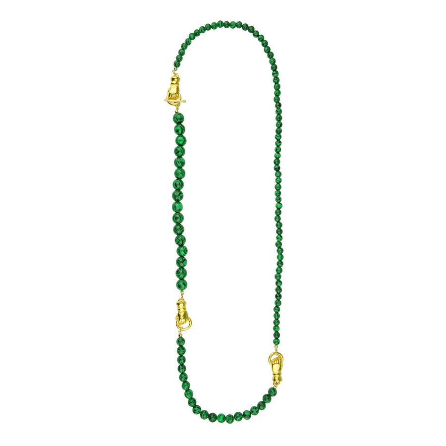 Katerina Psoma Long Necklace with Malachite semiprecious jewelry