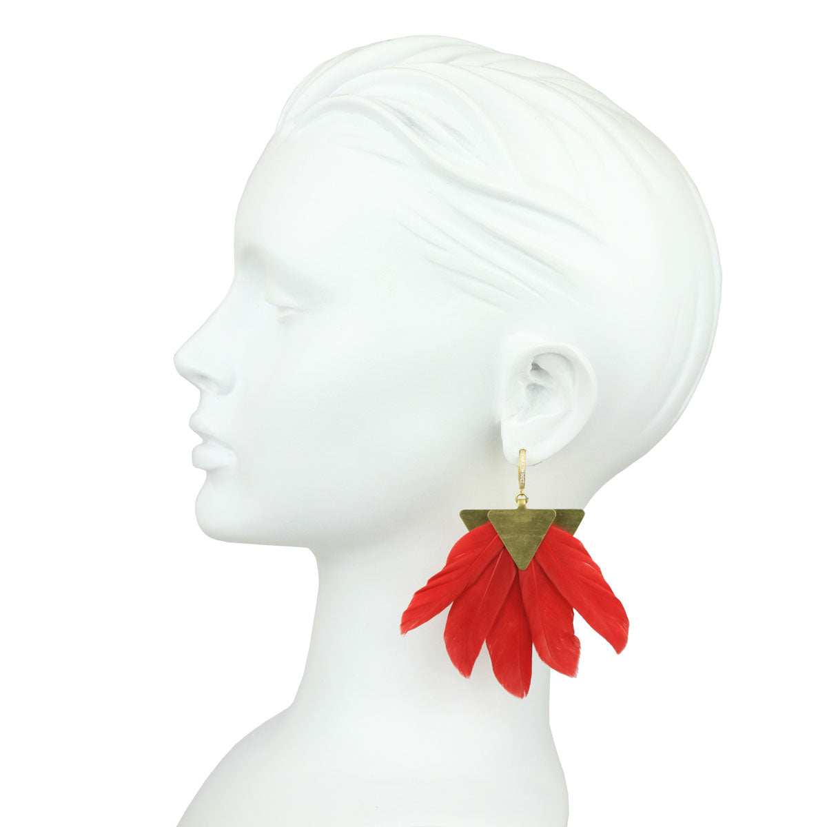 Artemis Red Feather Gold Plated Metal Earrings