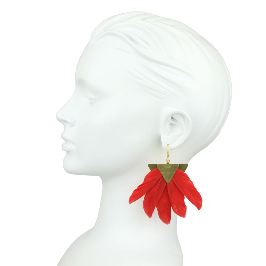 silver dangle earring with red feather katerina psoma