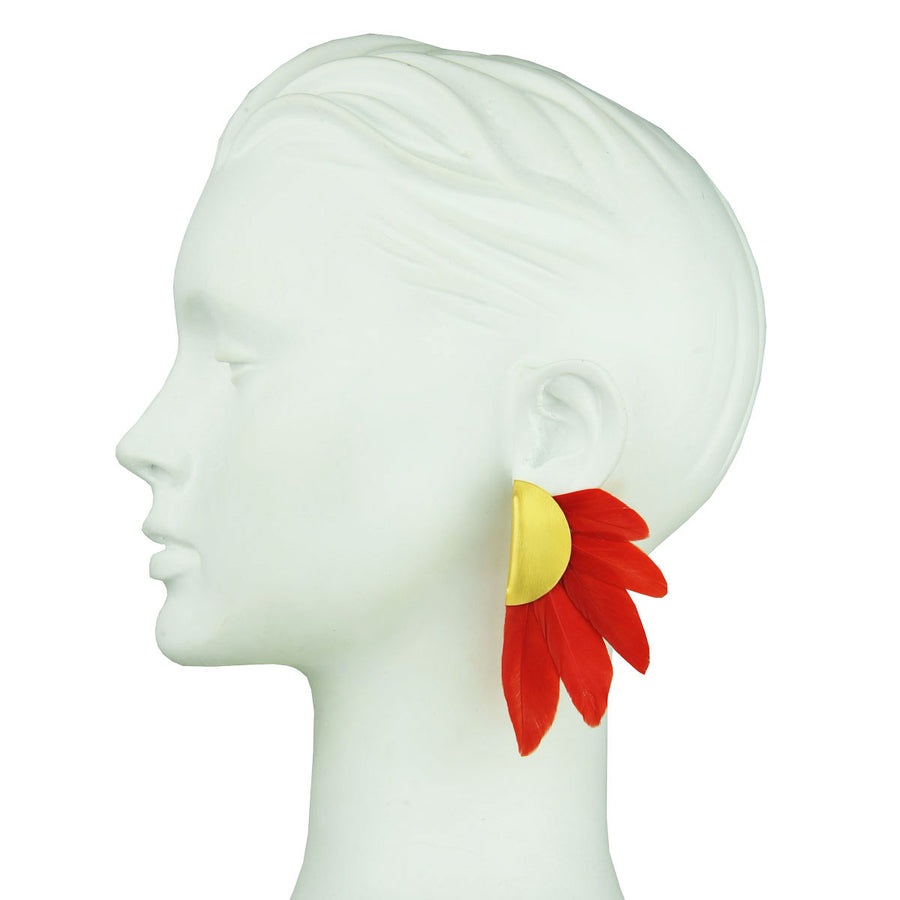 clip earrings with red feathers