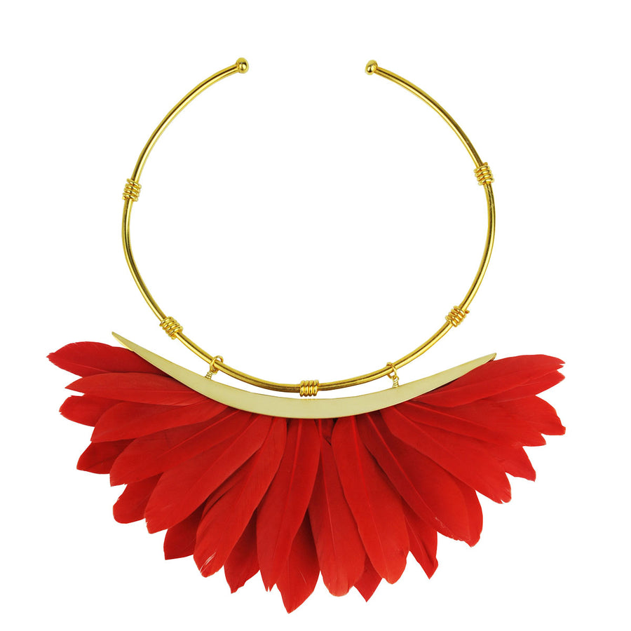 red feather collar necklace katerina psoma