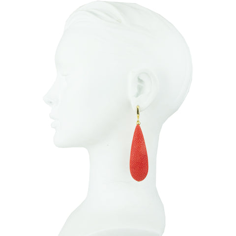 Eva Red Stingray Dangle Earrings