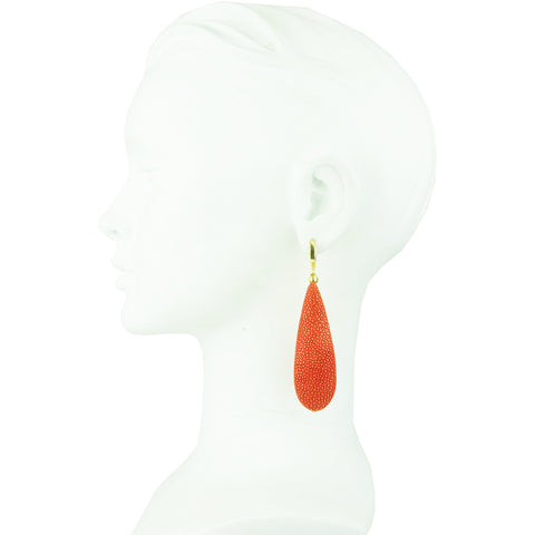 Eva Orange Stingray Dangle Earrings