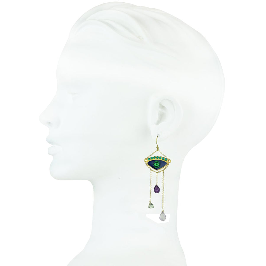 Blue Enamel Hook Evil Eye Earrings with Chain and Semiprecious Stones gold plated 925 silver