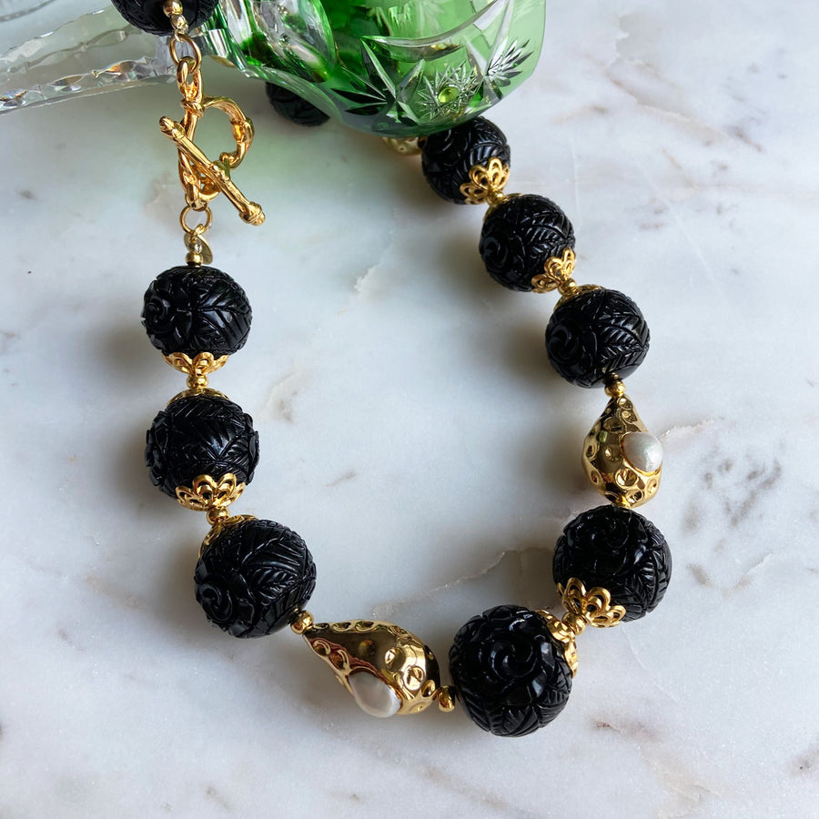 Katerina Psoma Short Gold Necklace with Carved Beads and Pearls  black beads