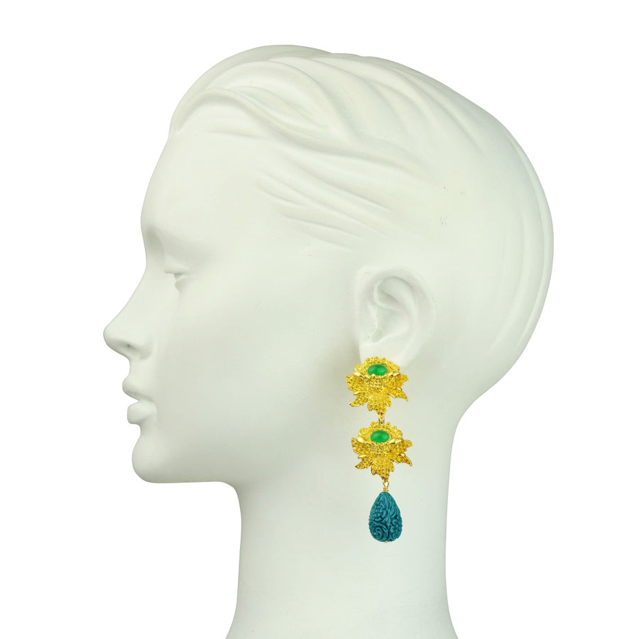 Clip Earrings with Green Drops Katerina Psoma