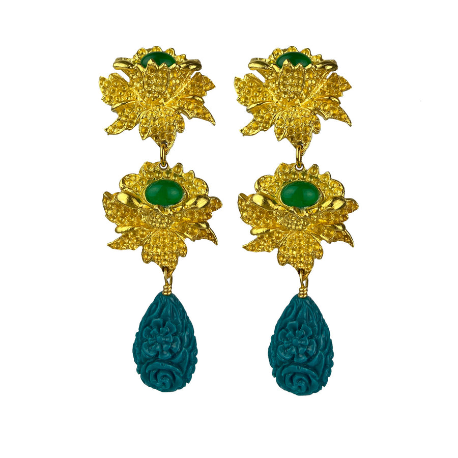 Rosa Clip Earrings with Green Drops Katerina Psoma