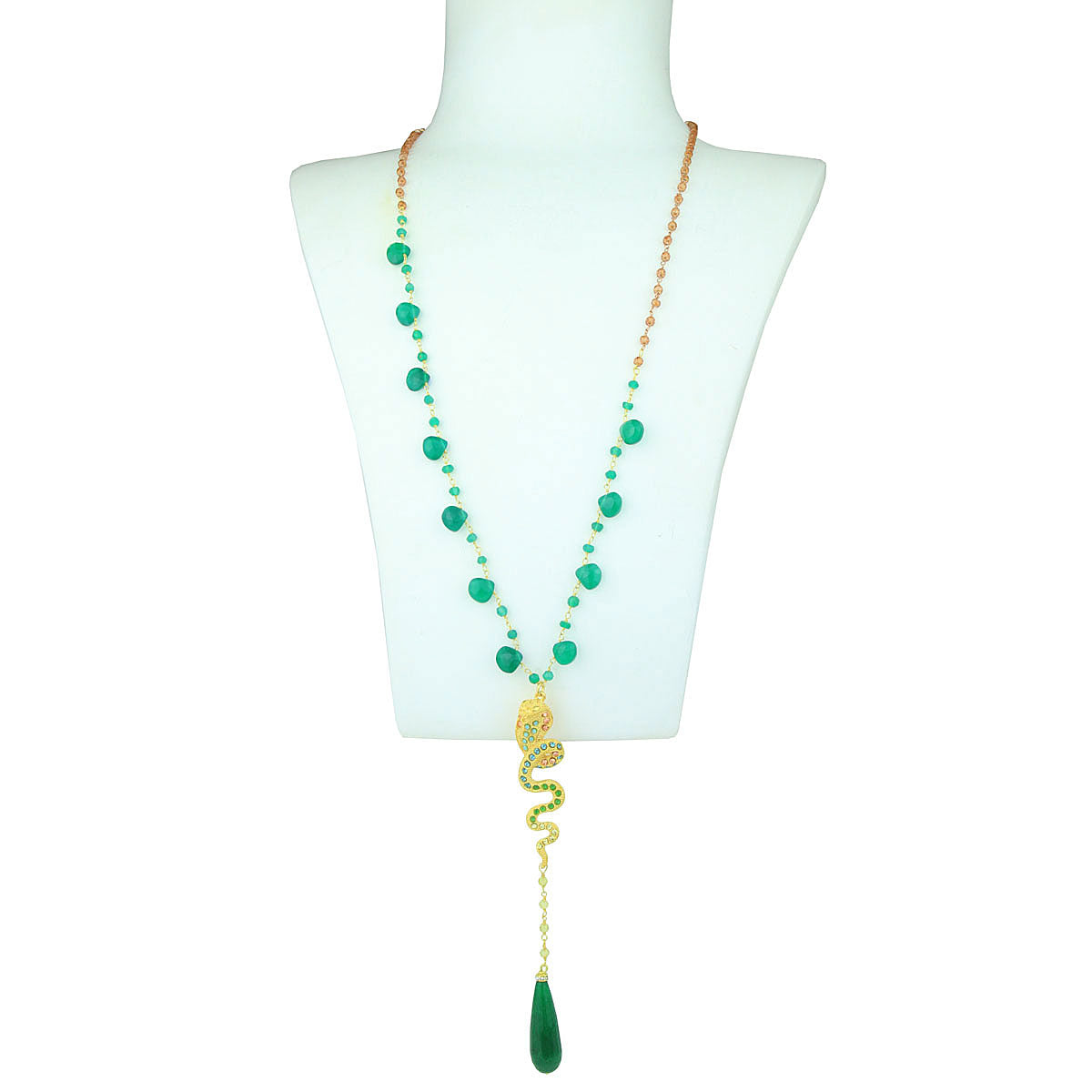 Nuwa Rosary With Jade and Gold Plated Metal Snake
