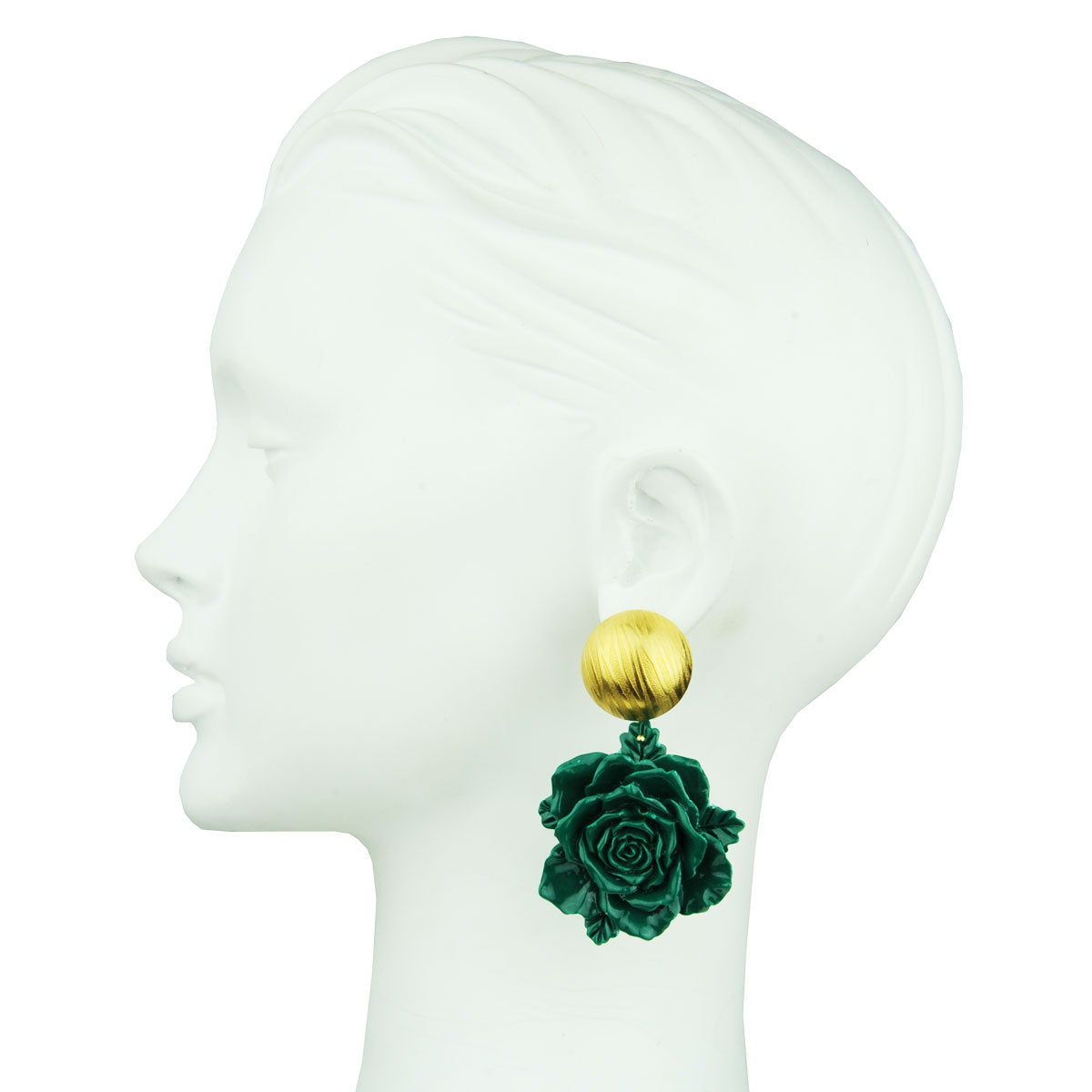 statement big clip earrings with green flowers katerina psoma