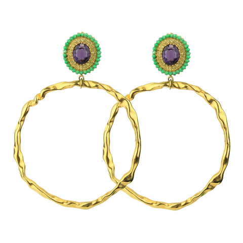 Gina Turquoise Rosettes and Gold plated Metal Hoops