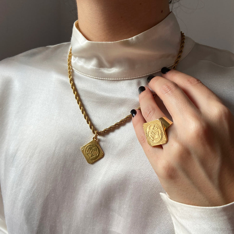 katerina psoma short gold plated necklace with charm