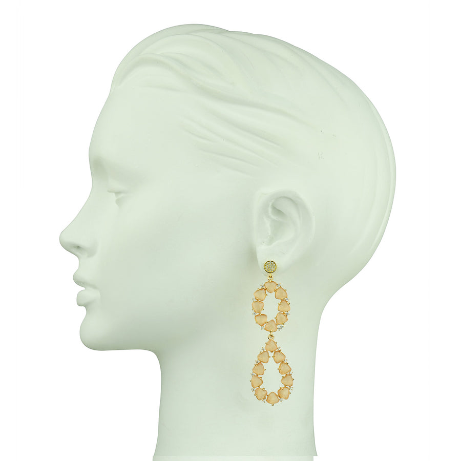 Katerina Psoma Beige Dangle Earrings with 925 sterling silver gold plated