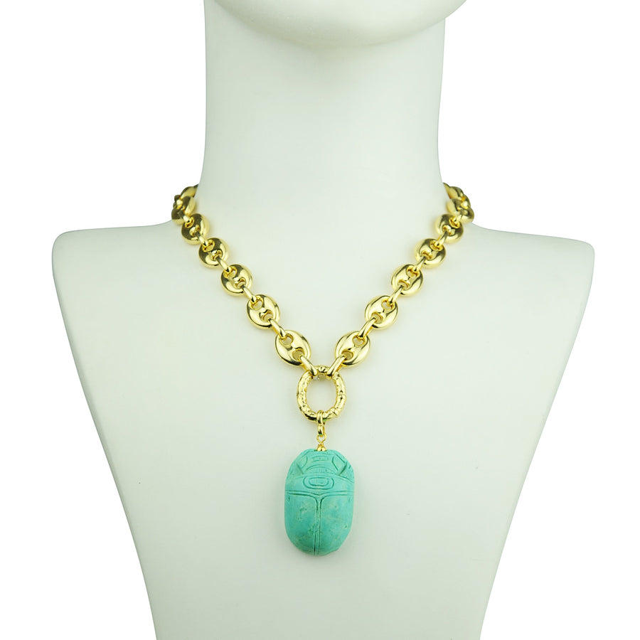 Katerina Psoma Short Chain Necklace with Scarab detail