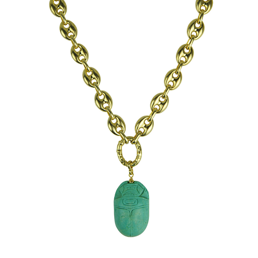 Katerina Psoma Short Chain Necklace with Scarab gold plated silver