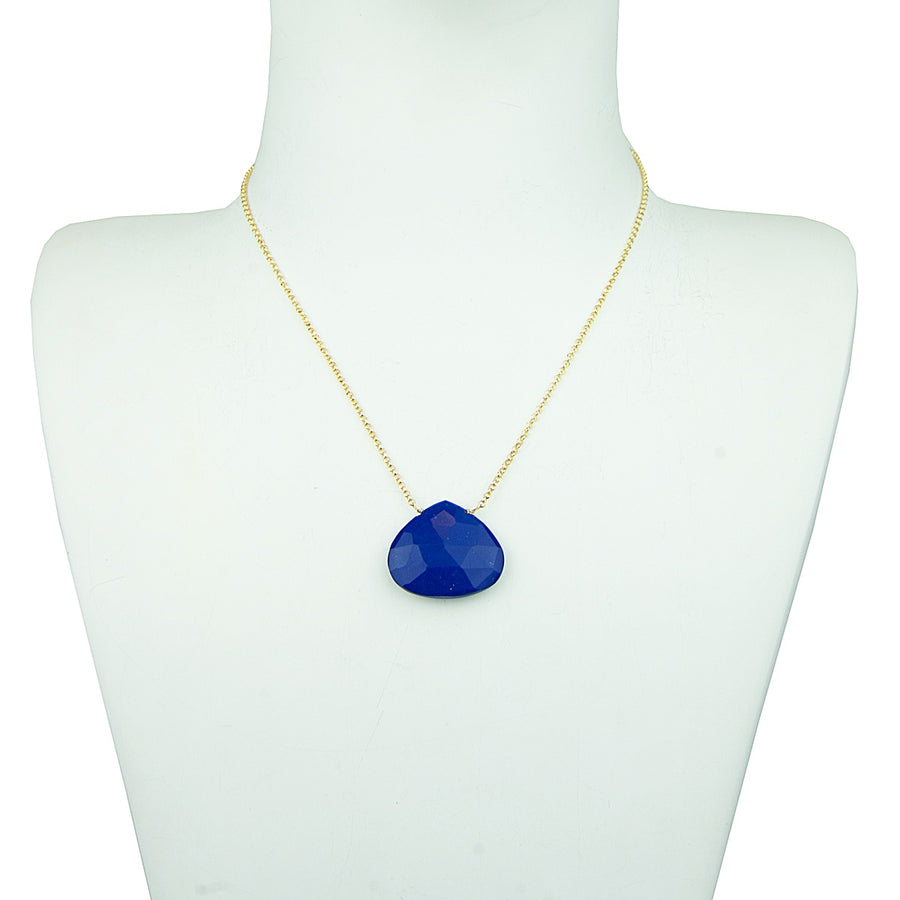 faceted lapis lazuli stone with short chain necklace