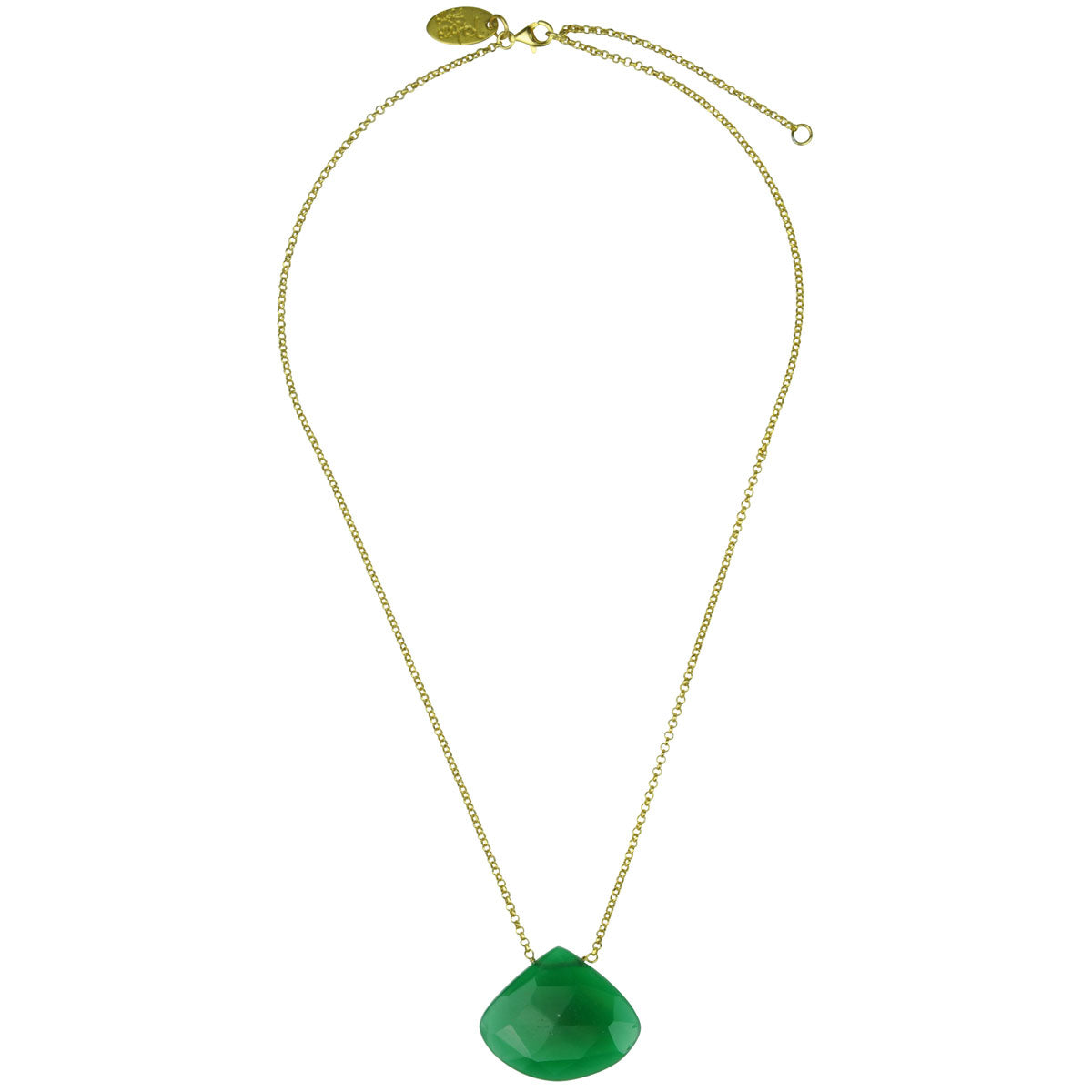 semiprecious green agate faceted stone with 925 sterling silver chain necklace katerina psoma