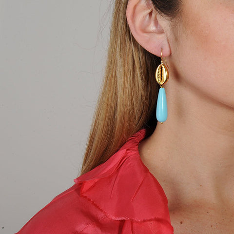 Shell Earrings with turquoise drops katerina psoma