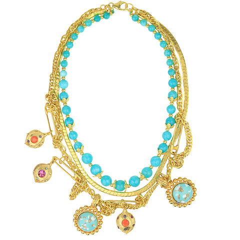 Claudia Vintage Chain and Blue Agate Bead Short Necklace with Charms