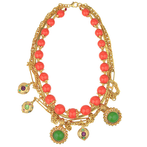 Claudia Vintage Chain and Coral Bead Short Necklace with Charms